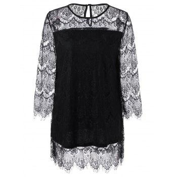 Plus Size Sheer Lace Blouse