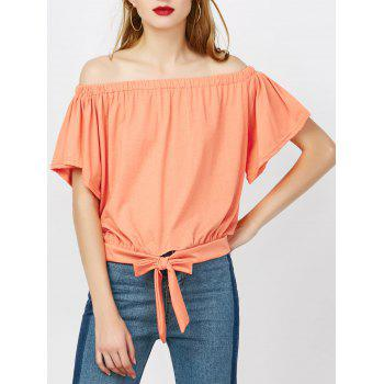 Off The Shoulder Tied Front Top