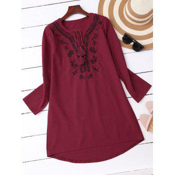 Embroidered High Low Casual Dress Outfits With Sleeves