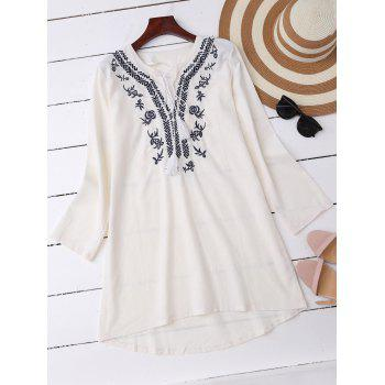 Embroidered High Low Casual Linen Dress with Long Sleeves
