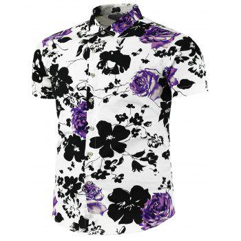 Short Sleeve Flower Painted Shirt