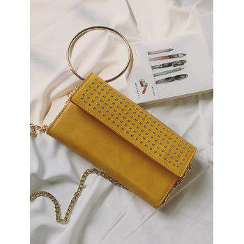 Metallic Ring Rivet Clutch Bag with Chains -  YELLOW