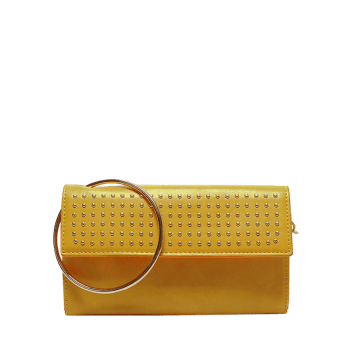 Metallic Ring Rivet Clutch Bag with Chains - YELLOW YELLOW