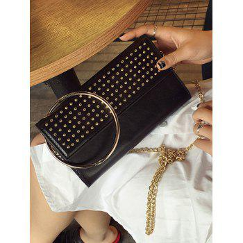 Metallic Ring Rivet Clutch Bag with Chains - BLACK