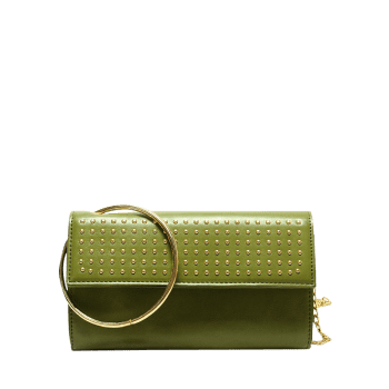 Metallic Ring Rivet Clutch Bag with Chains - GREEN GREEN