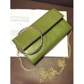 Metallic Ring Rivet Clutch Bag with Chains -  GREEN