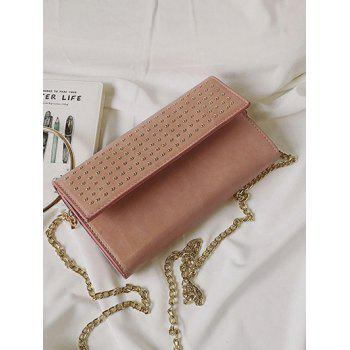Metallic Ring Rivet Clutch Bag with Chains -  PINK