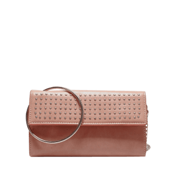 Metallic Ring Rivet Clutch Bag with Chains - PINK PINK