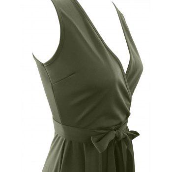 High Waist Irregular Maxi Formal Swing Dress - BLACKISH GREEN XL