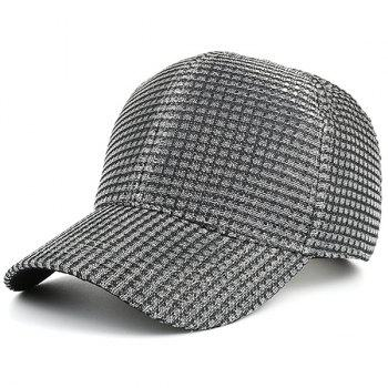Checked Cannetille Fabric Baseball Cap