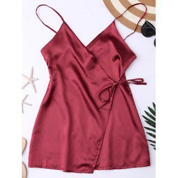Silky Cami Wrap Slip Dress - WINE RED L