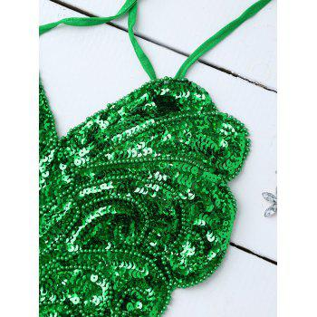 Sequins Cross Back Teddies - GREEN ONE SIZE