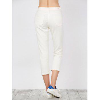 Mid Rise Fishnet Panel Distressed Jeans - WHITE WHITE