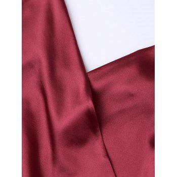 Silky Cami Wrap Slip Dress - WINE RED XL