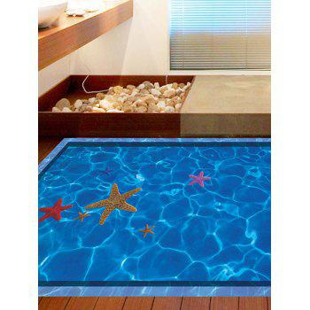 3D Floor Stickers Swimming Pool with Starfish Pattern - BLUE