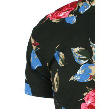 Short Sleeve Shirt with Floral Print - RED/BLACK 2XL