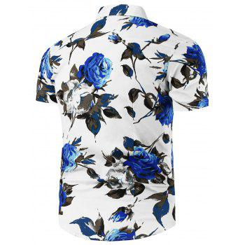Short Sleeve Shirt with Floral Print - BLUE/WHITE L