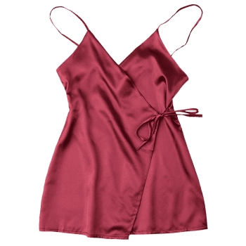Silky Cami Wrap Slip Dress - WINE RED M
