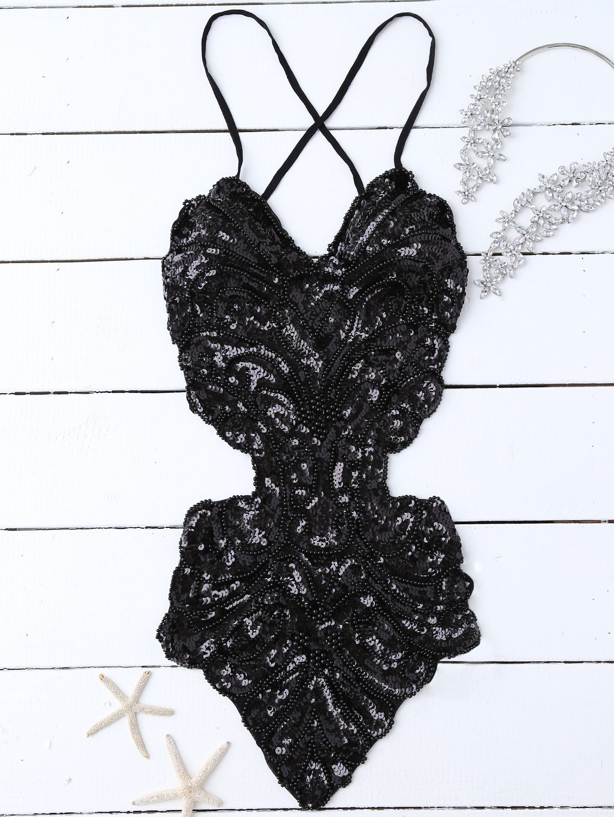 Sequins Cross Back Teddies - BLACK ONE SIZE