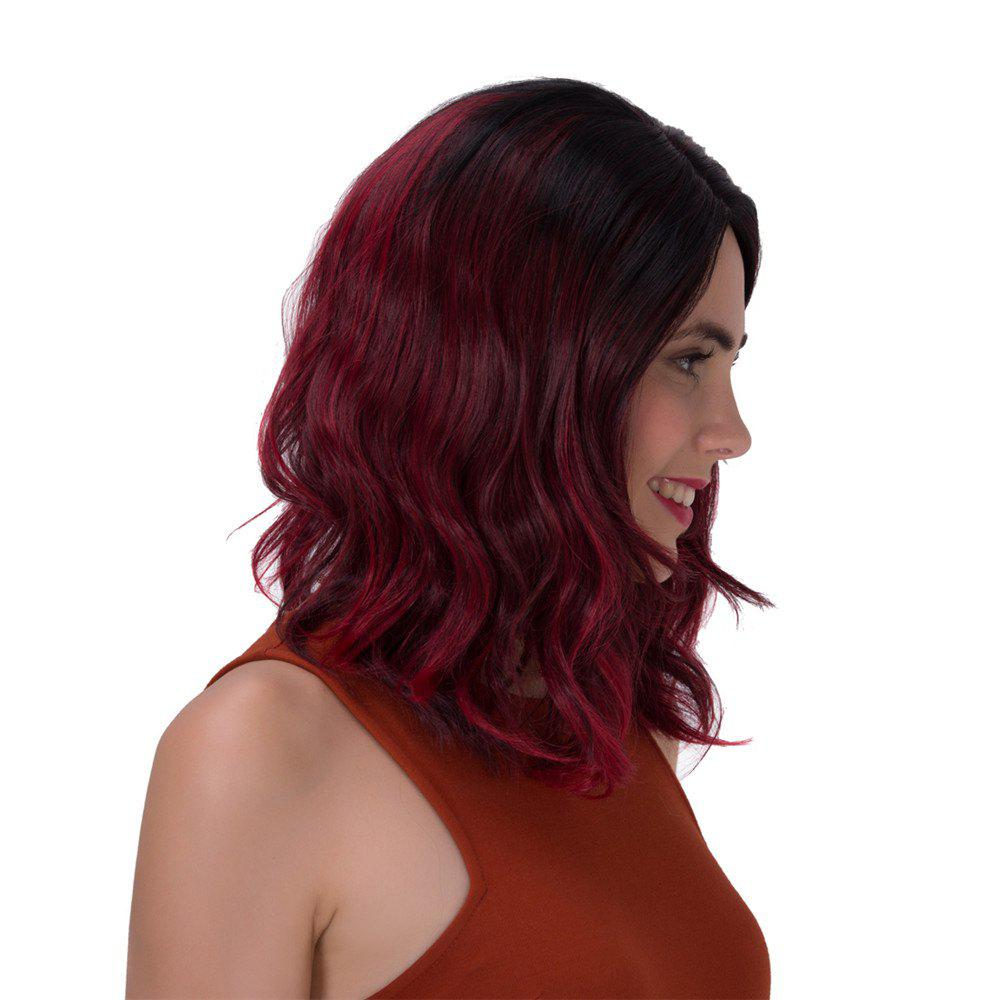 Fluffy Wave Long Stunning Black Ombre Wine Red Synthetic Adiors Wig For Women - COLORMIX