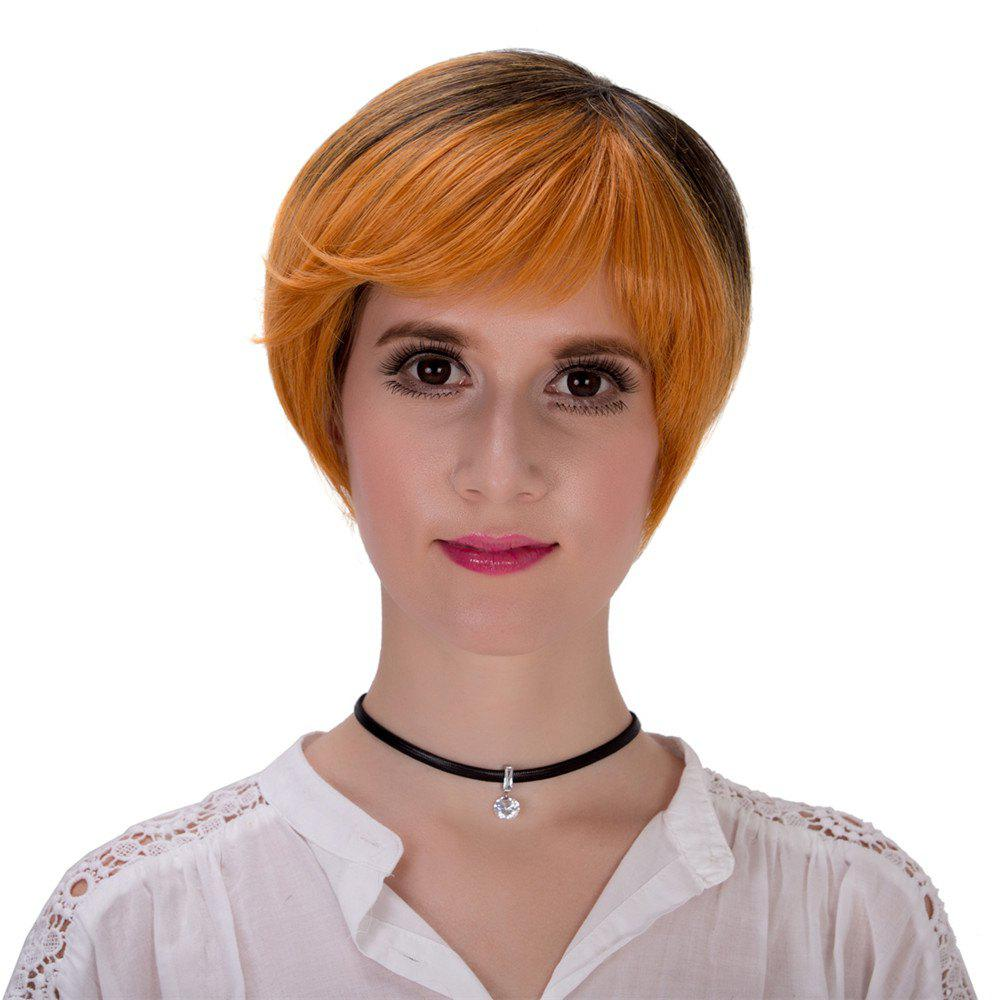 Fashion Short Layered Synthetic Straight Black Brown Ombre Women's Adiors Wig - BLACK/BROWN