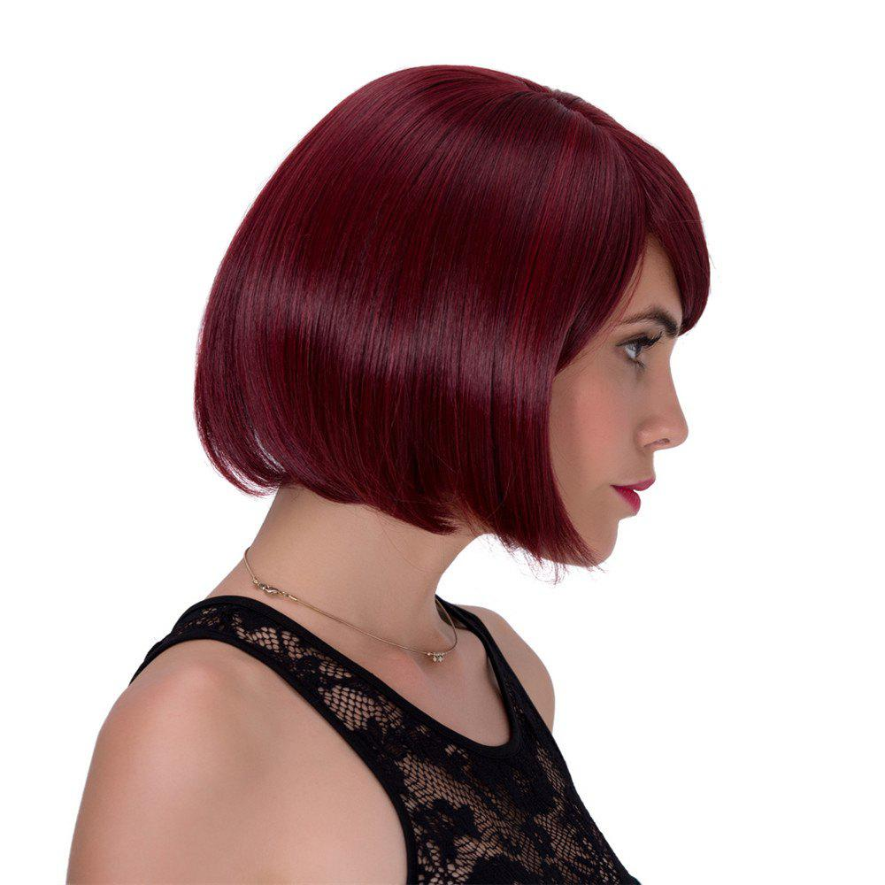 Vogue Wine Red Short Straight Side Bang Synthetic Adiors Wig For Women - WINE RED