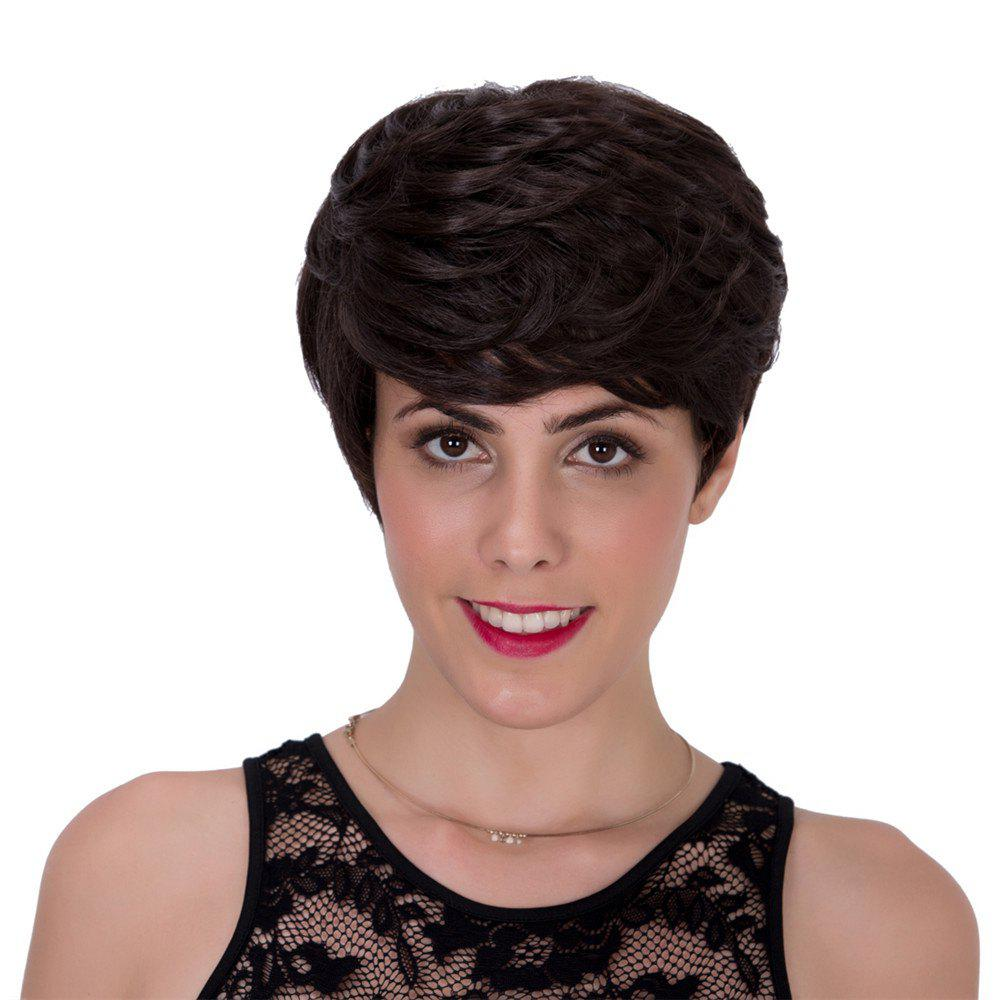 Stylish Black Brown Short Fluffy Straight Layered Capless Adiors Wig For Women - BLACK BROWN