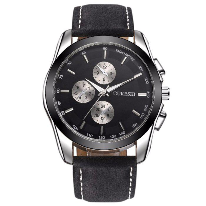 OUKESHI Faux Leather Tachymeter Watch oukeshi faux leather tachymeter watch