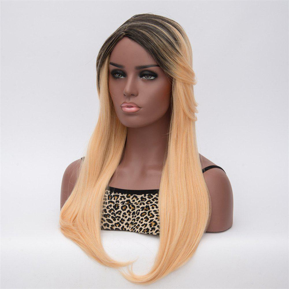 Gorgeous Black Blonde Ombre Capless Long Synthetic Adiors Wig For Women l email black blonde ombre gradient 60cm