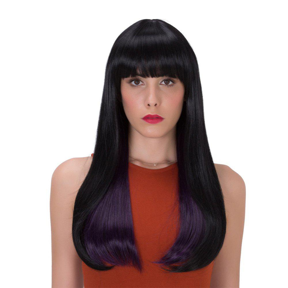 Stunning Straight Tail Adduction Long Black Purple Mixed Synthetic Adiors Wig For Women - BLACK/PURPLE