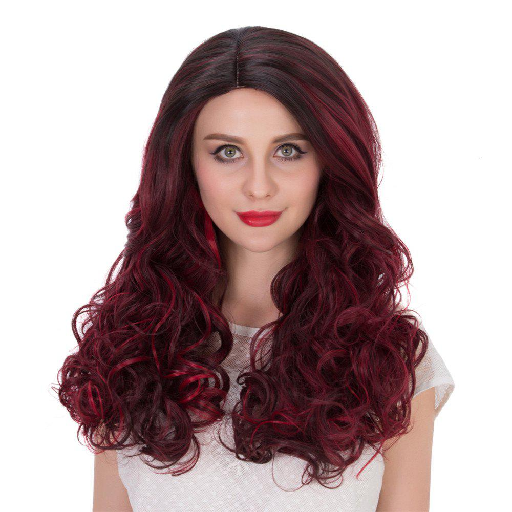 Long Wine Red Highlight Wavy Side Parting Synthetic Wig - COLORMIX