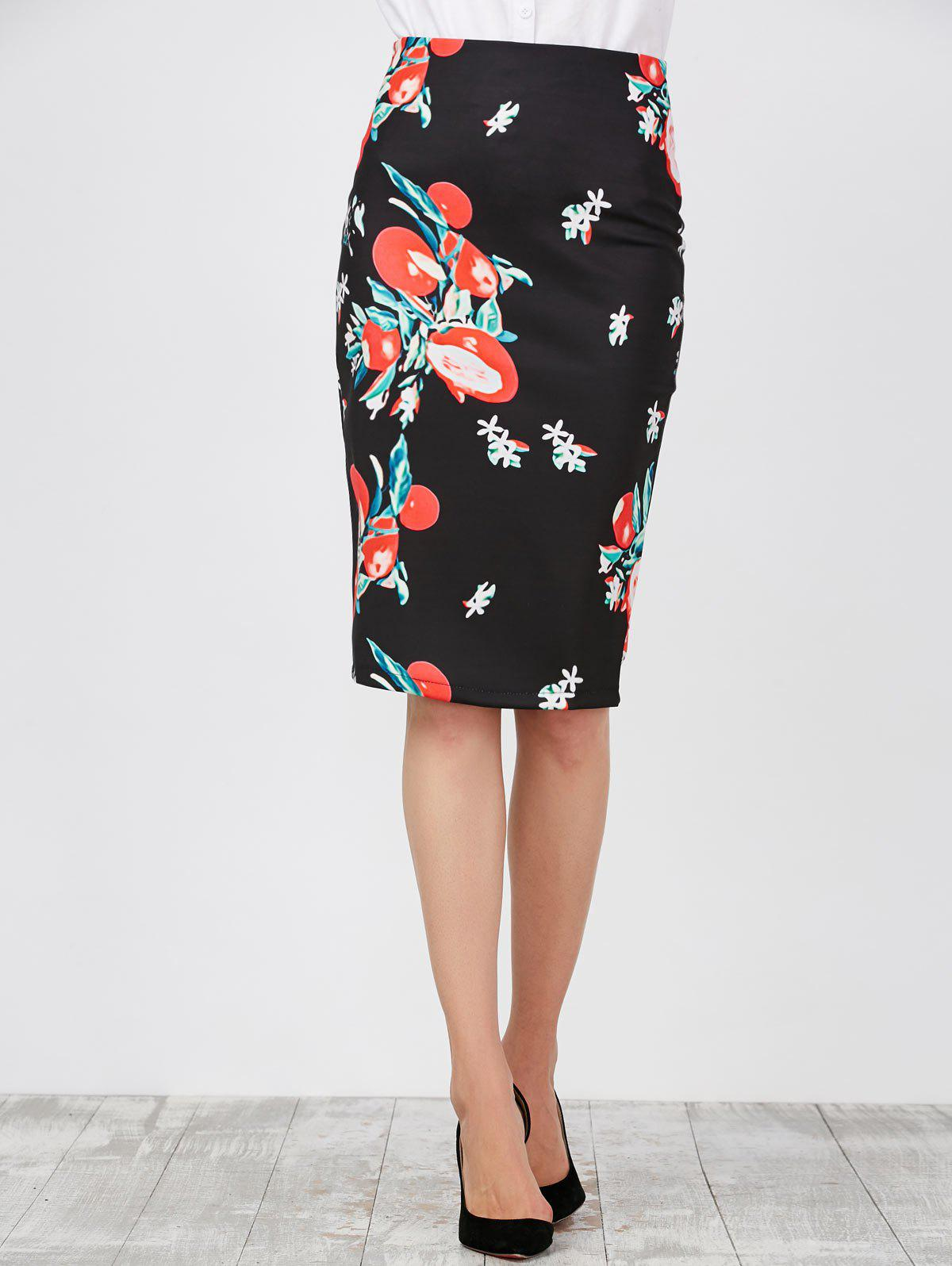 High Waist Floral Pencil Skirt, BLACK, 2XL in Skirts | DressLily.com