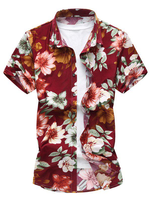Button Front Flower Short Sleeve Shirt - RED XL