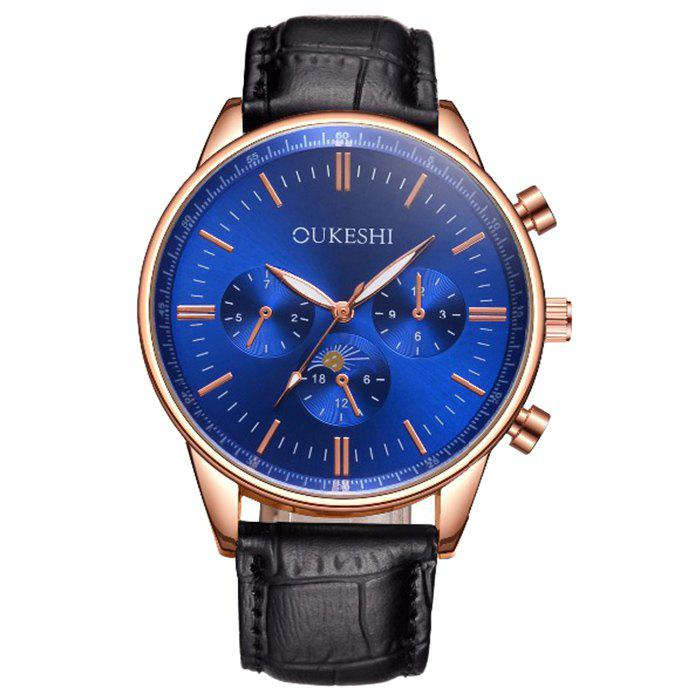 OUKESHI Faux Leather Quartz Watch oukeshi faux leather tachymeter watch