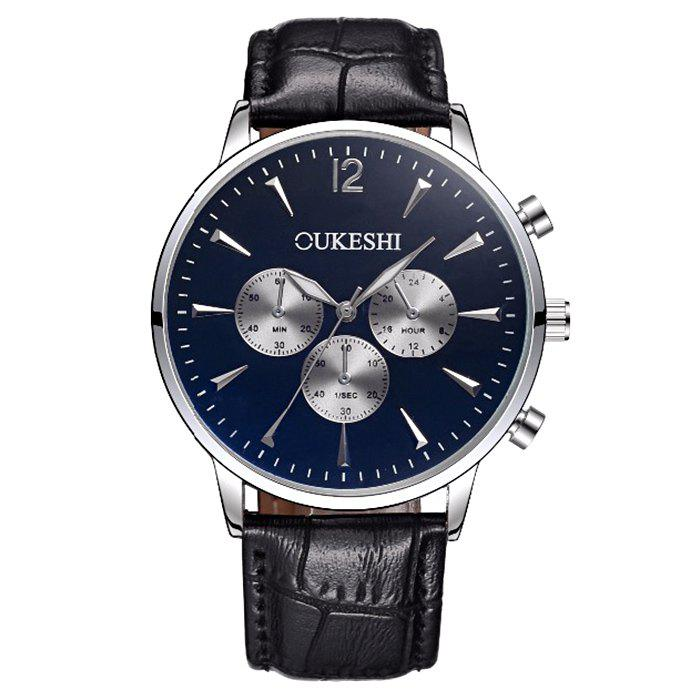 OUKESHI Faux Leather Qaurtz Watch oukeshi faux leather tachymeter watch
