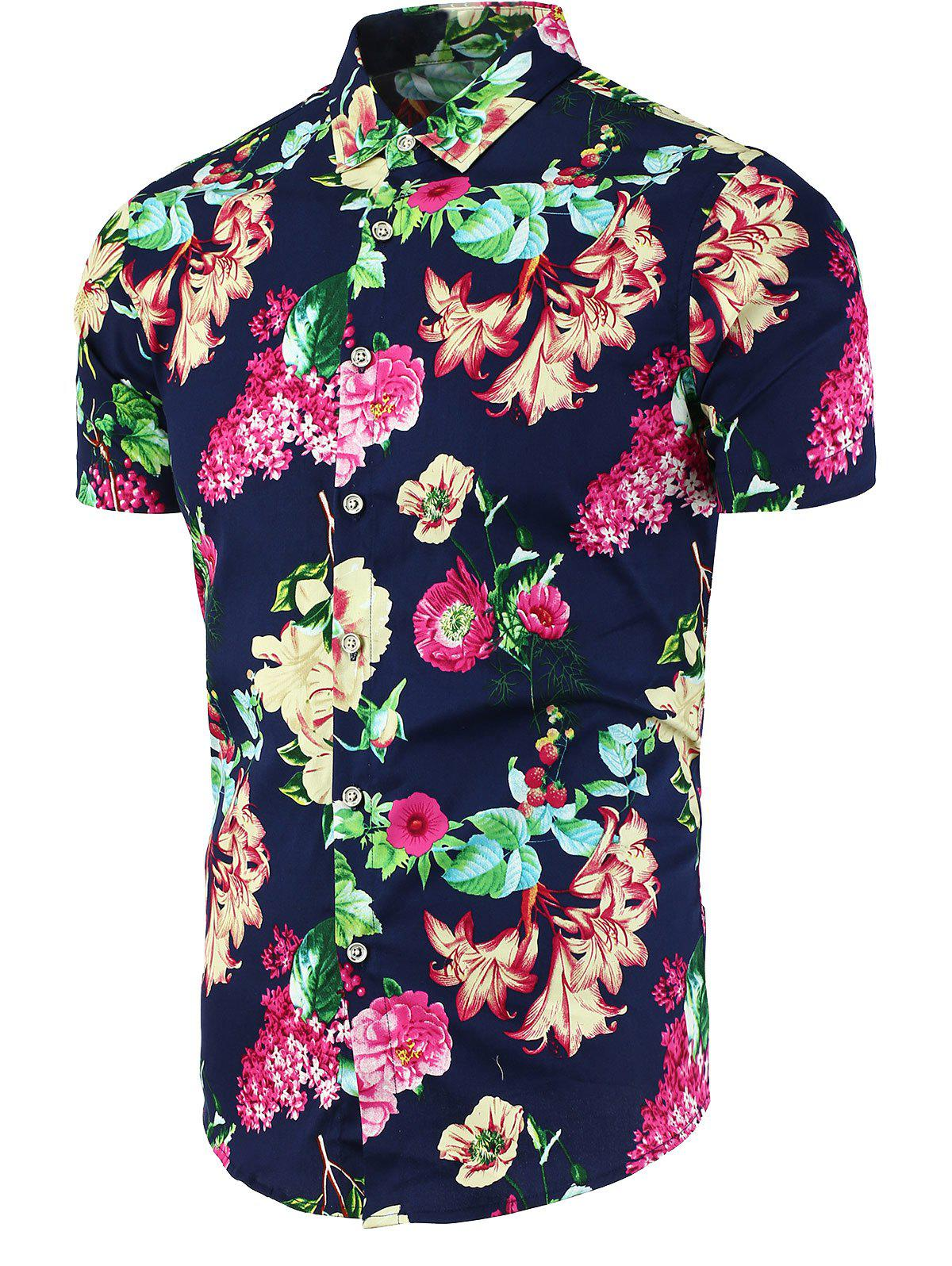 2018 floral print button up shirt cadetblue l in shirts for Floral print button up shirt