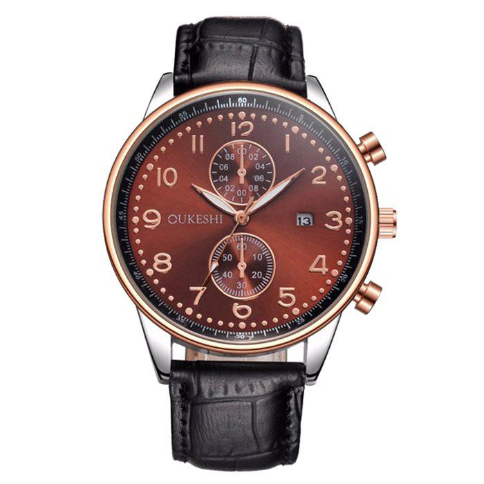 OUKESHI Faux Leather Strap Date Watch