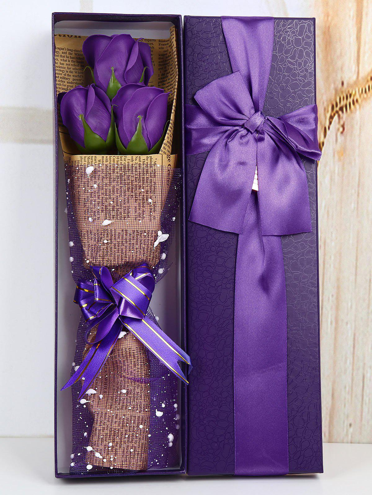 Mothers Day Simulation Rose Soap Flowers with Gift Box - PURPLE
