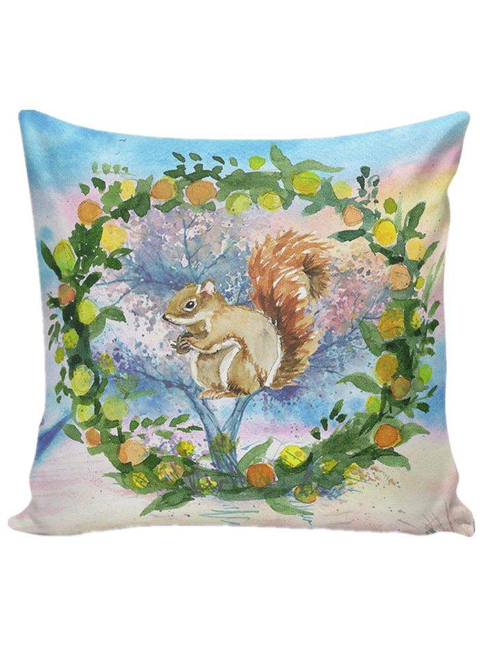 Watercolor Squirrel Linen Throw Pillow Case tfs cotton linen leaning cushion covers square 17 7 17 7 throw pillow case colored fish