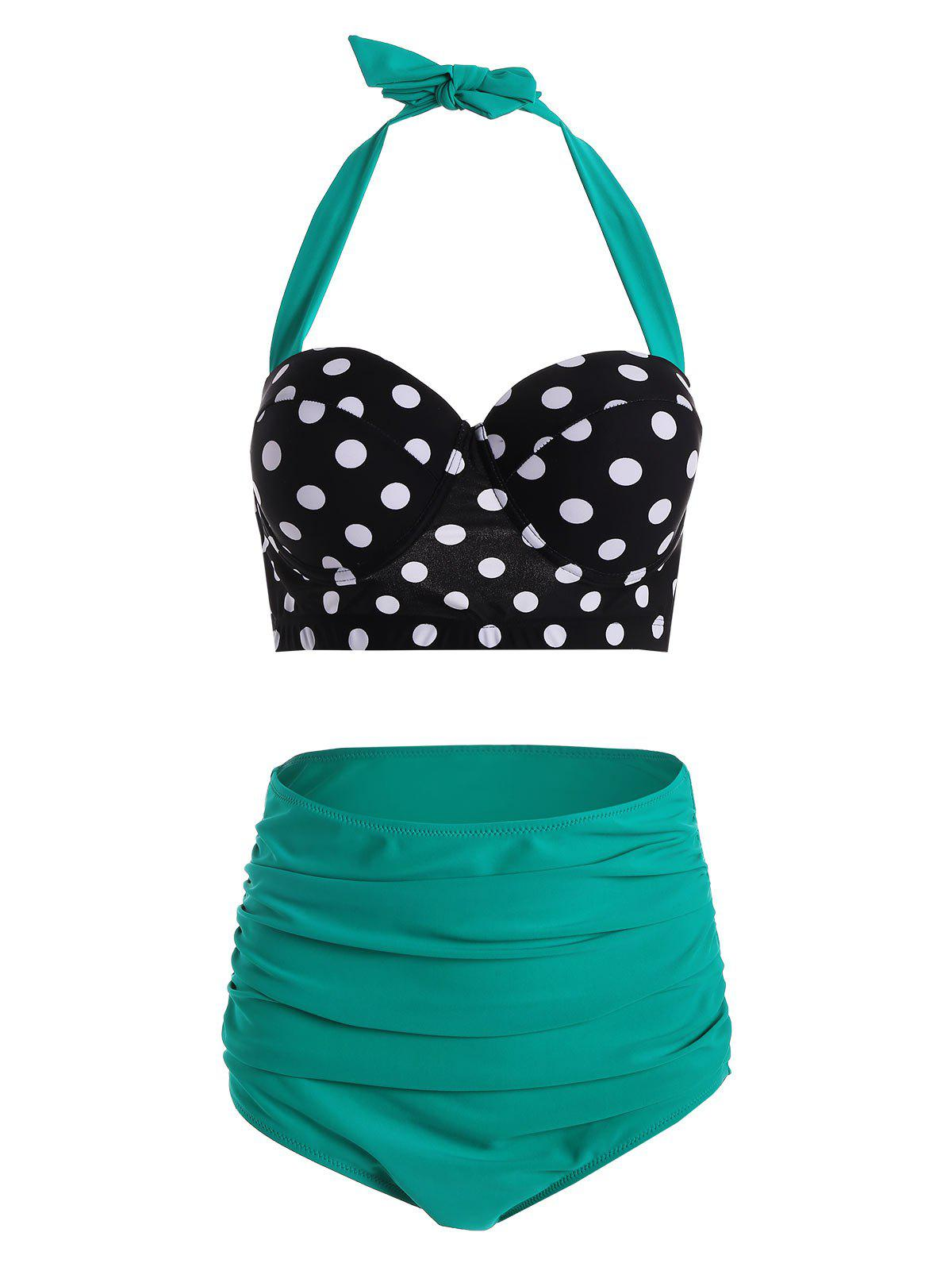 Polka Dot High Waist Plus Size Push Up Bikini лампочка филипс 007054 b1s 35w e1 04j dot 9285 141 294