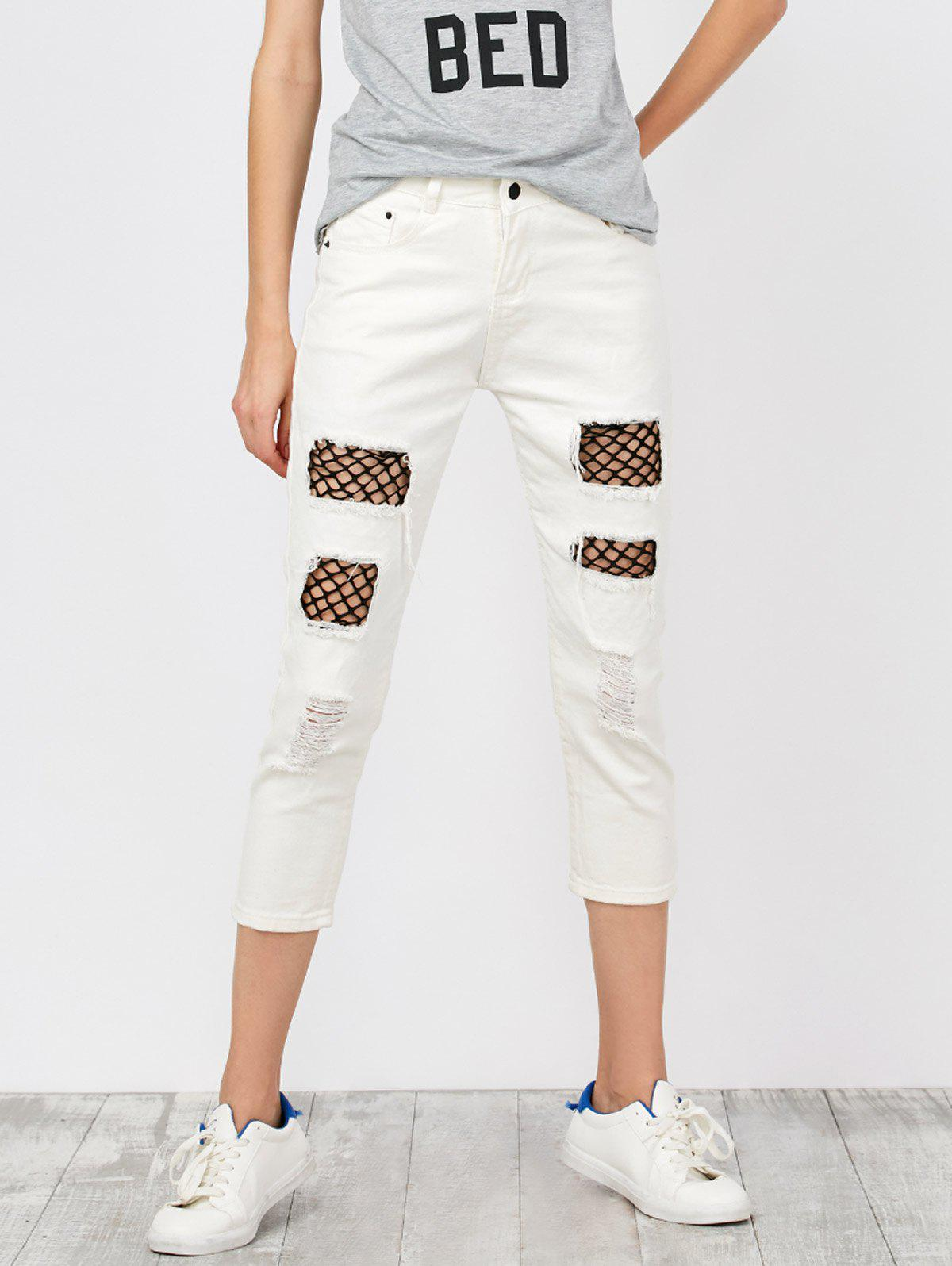 Mid Rise Fishnet Panel Distressed Jeans - WHITE L