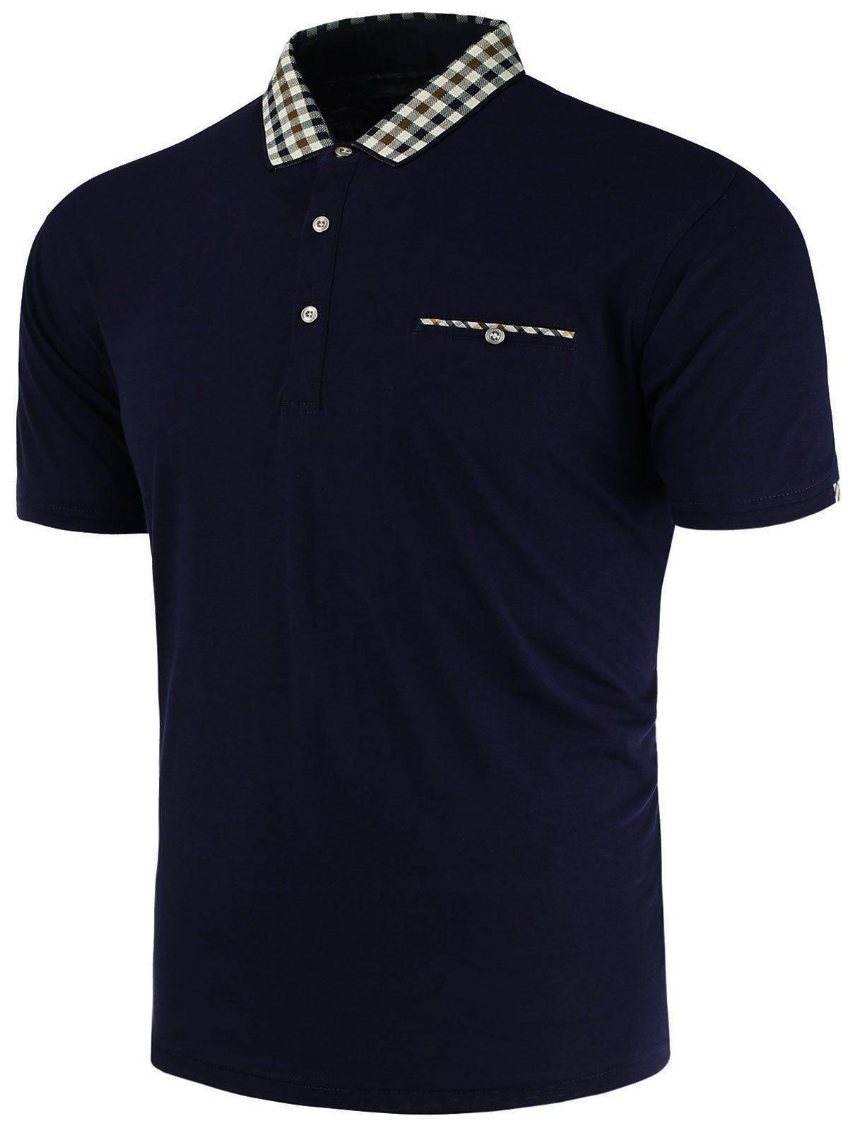 2018 plaid trim pocket polo t shirt cadetblue xl in t for Polo t shirts with pocket online