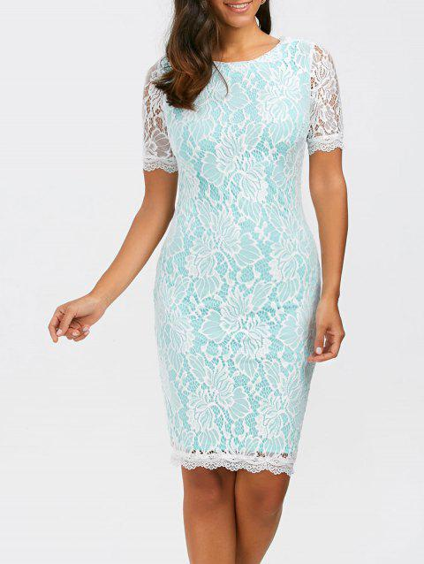 Floral Fitted Lace Dress - LIGHT BLUE XL
