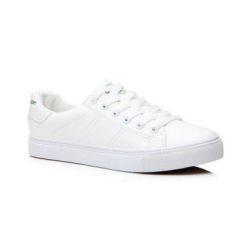 Faux Leather Letter Print Athletic Shoes - WHITE 39
