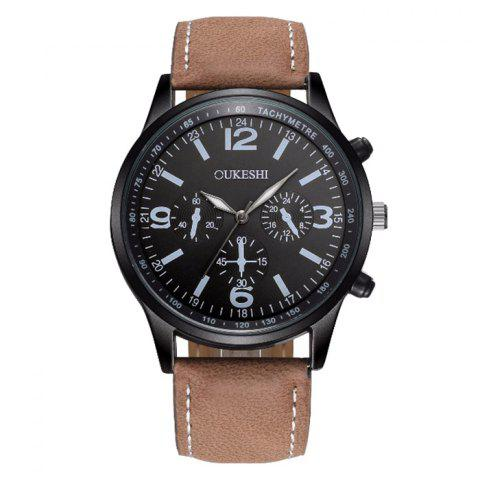 OUKESHI Faux Leather Band Tachymeter Watch - BLACK/BROWN
