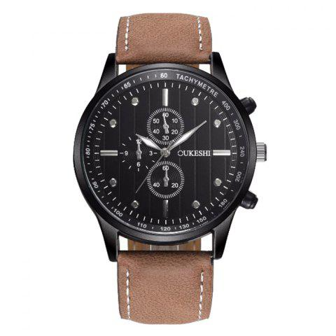 OUKESHI Tachymeter Quartz Watch - BLACK/BROWN
