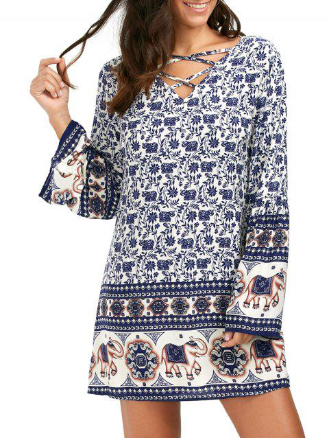 a12d64f6a7 17% OFF] 2019 Flare Long Sleeve Lace-Up Indian Print Shift Dress In ...