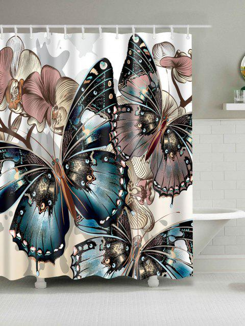 Mouldproof Butterfly Print Shower Curtain - COLORMIX W71 INCH * L71 INCH