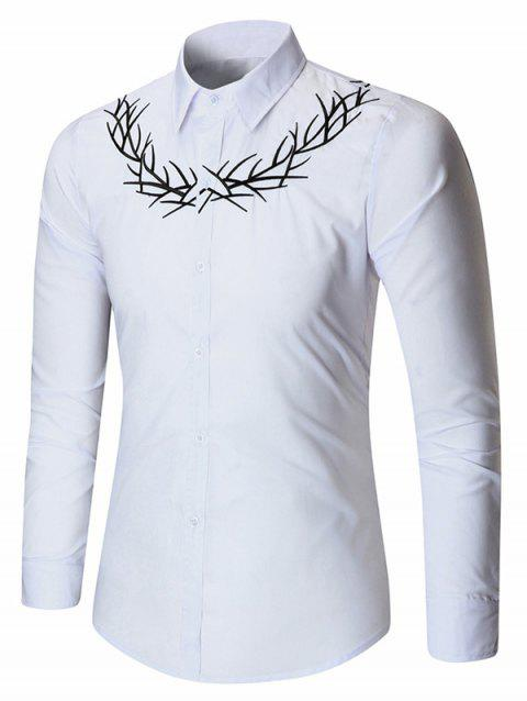 Embroidered Long Sleeve Shirt - WHITE M