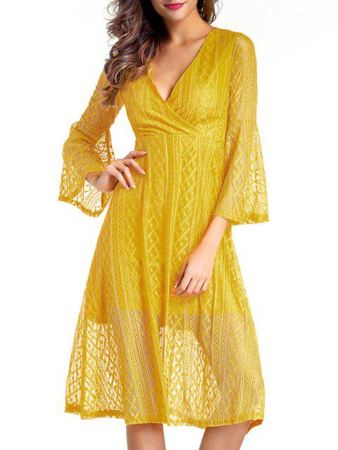 Surplice Lace Swing A Line Dress - YELLOW L